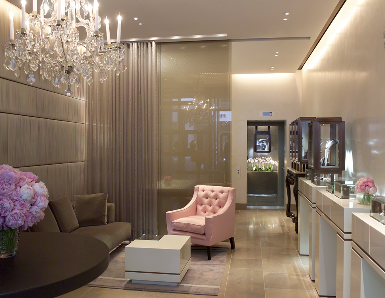 The store is disguised as a grand house where cases of rare diamonds have been subtly integrated into the furniture of a comfortable salon.