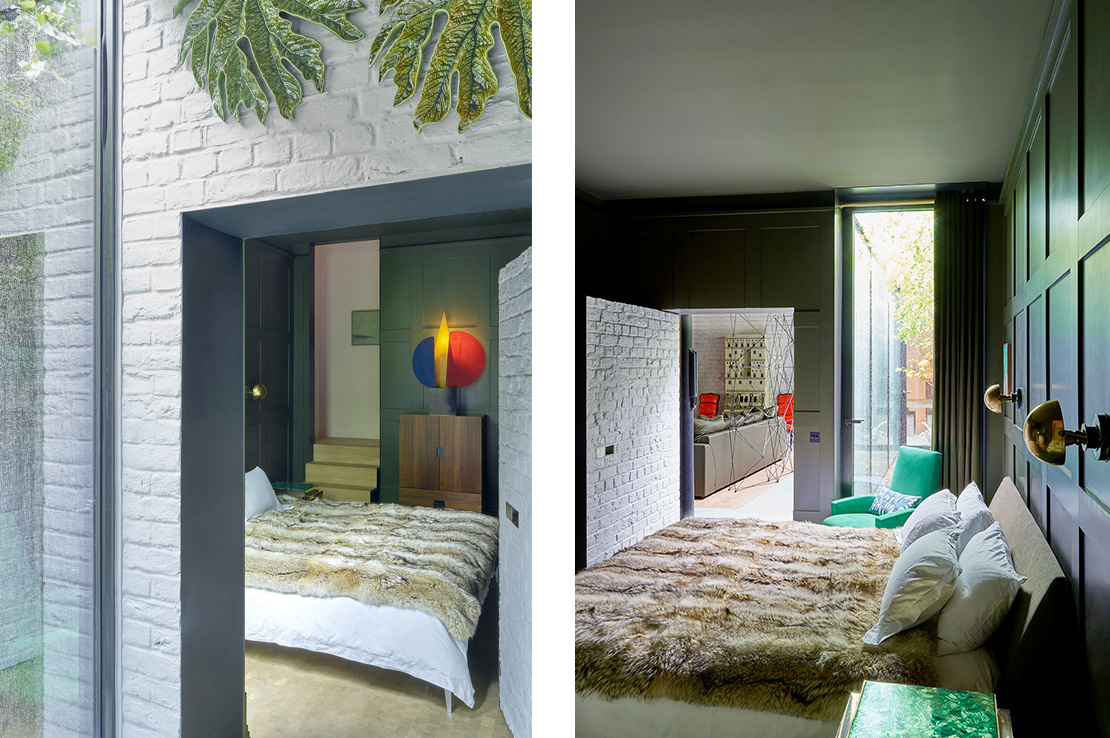 Left: A hinged brick wall concealed in the brickwork opens to reveal the master bedroom. Right: The military green panelling in the master bedroom gives the space a rich dark intimate quality.