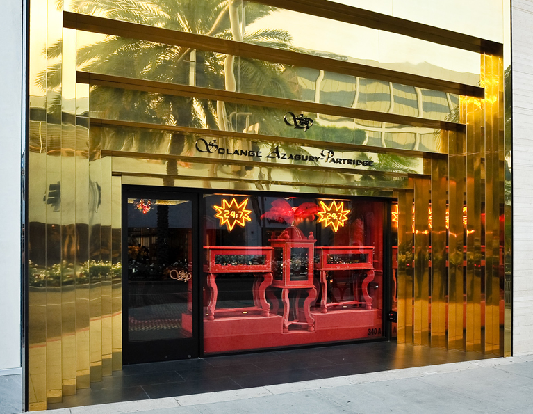 The City of Beverley Hills Architectural Design Award was given for the golden ziggurat street facade of the store on Rodeo Drive in Los Angeles.