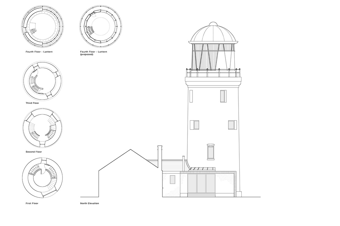Plans showing the Lighthouse refurbished with its new domed lantern room.