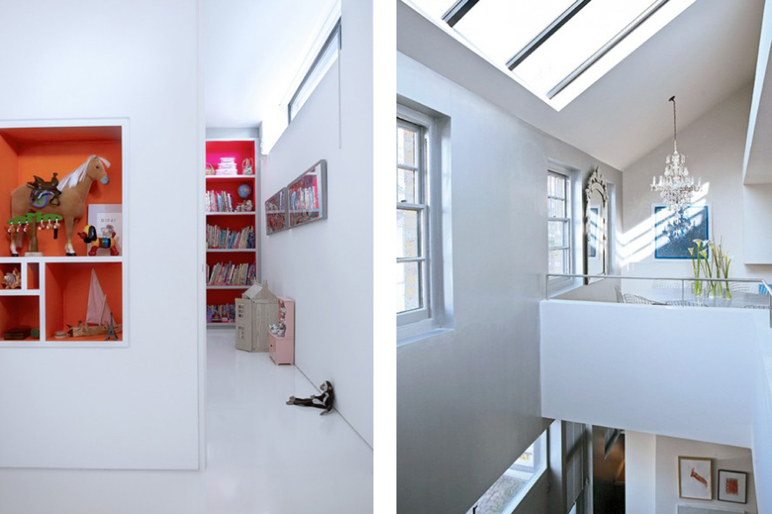 Left: The children's interconnecting bedrooms. Right: The double height wall of the front facade is finished in lacquered metallic silver paint reflecting the natural light from the skylight above.