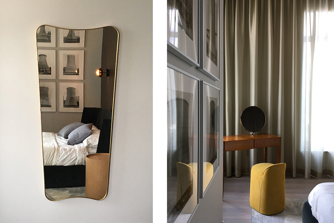 Details in the master bedroom including a dressing table designed by Gio Ponti.