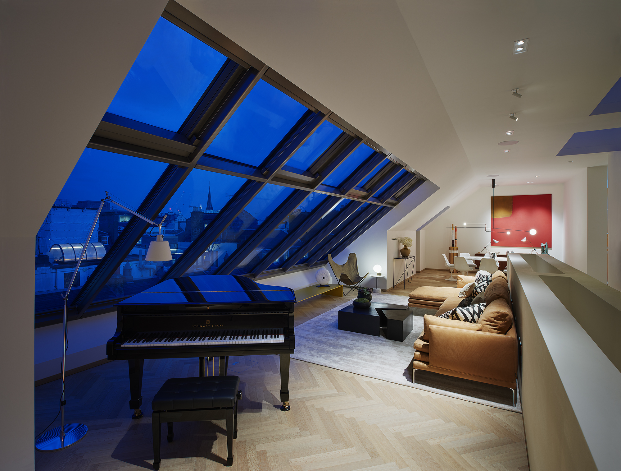 A Steinway piano in the music room of the penthouse.