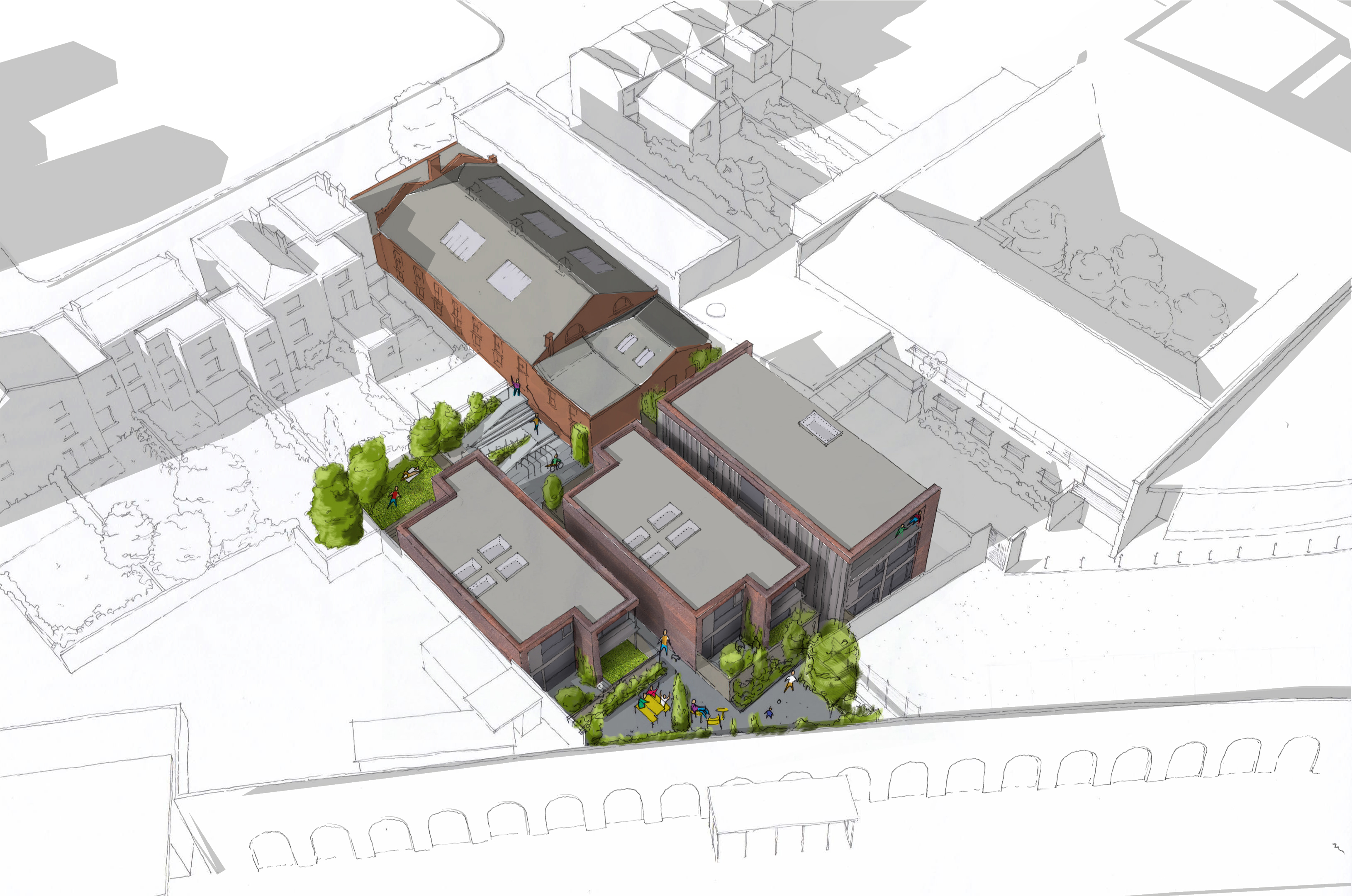 Sketch showing the aerial view of the development with the old sorting office and the new apartment buildings as proposed.