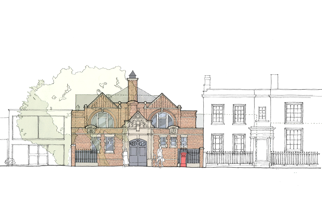 Sketch of the Victorian street facade in context.