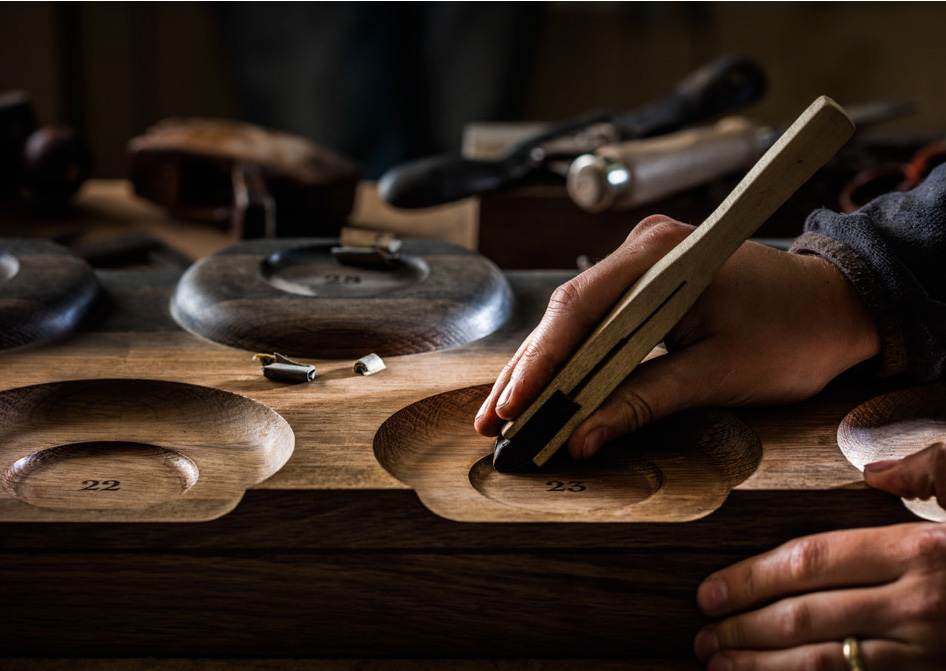 One of the many bespoke tools the craftsmen created for this unique project.