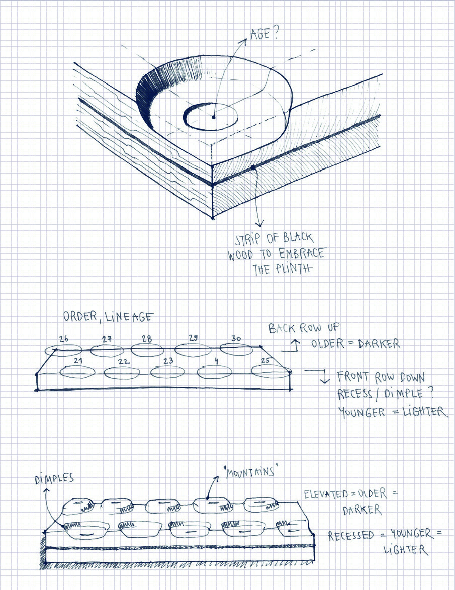 Early sketches showing the idea for the plinth and its relationship to time.