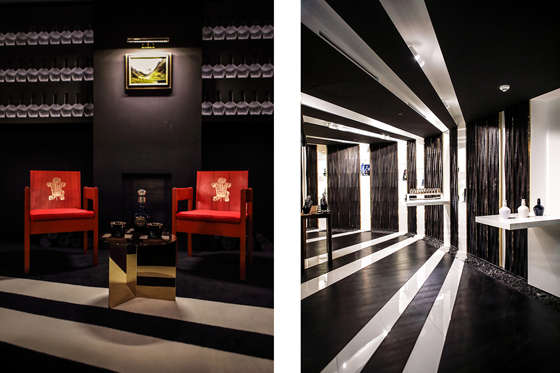 Left: VIP salon guests can sit on an original pair of red chairs designed by the queen's nephew, Lord Snowden, for the investiture of Prince Charles in 1969. Right: Detailed view of the tasting showroom.