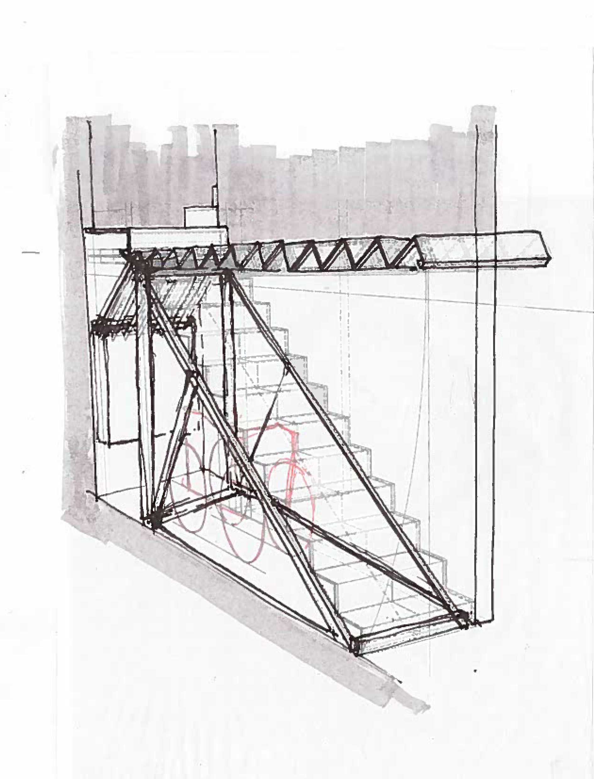 Sketch of the counter-weighted stair.