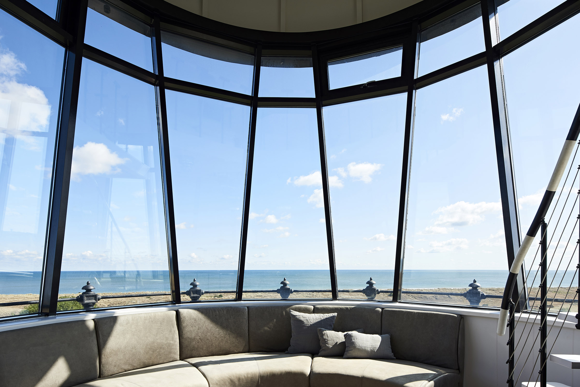 The Lantern Room overlooks the sea.