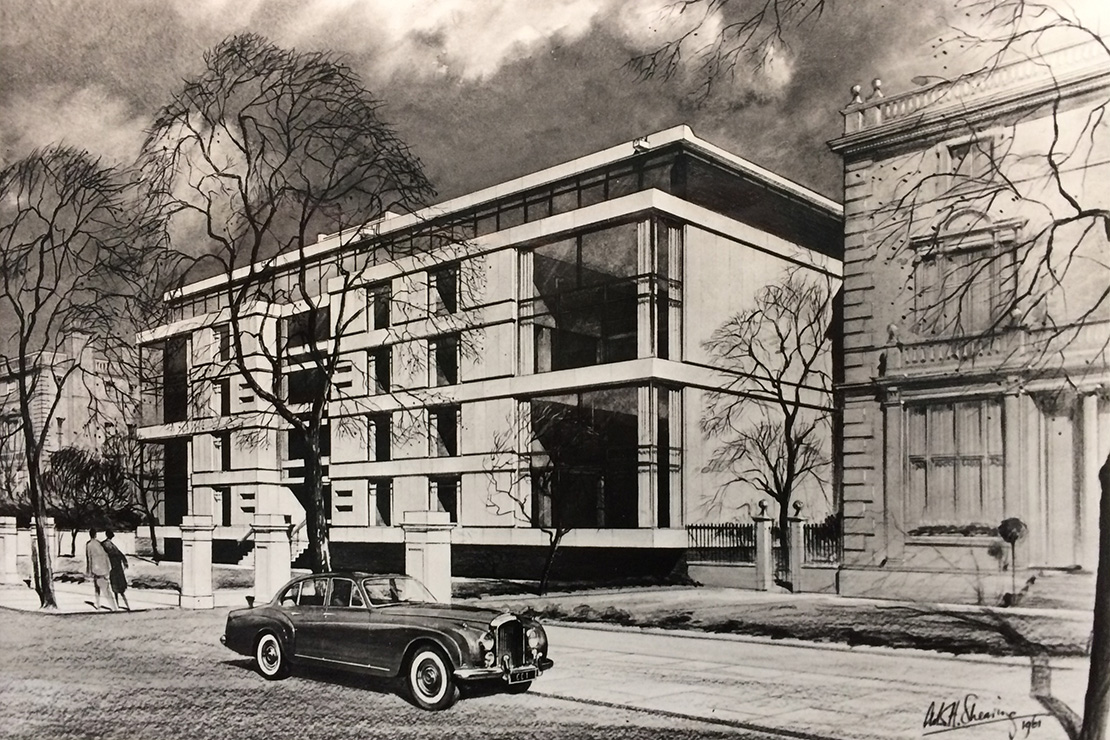 An original 1960s artists impression of the building emphasising the sleek Modernist lines and celebrating the era of the automobile and its significance for urban living at that time.