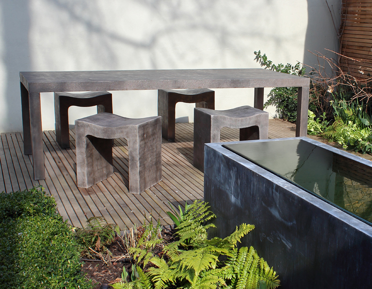 Cast 001 in an urban garden setting.