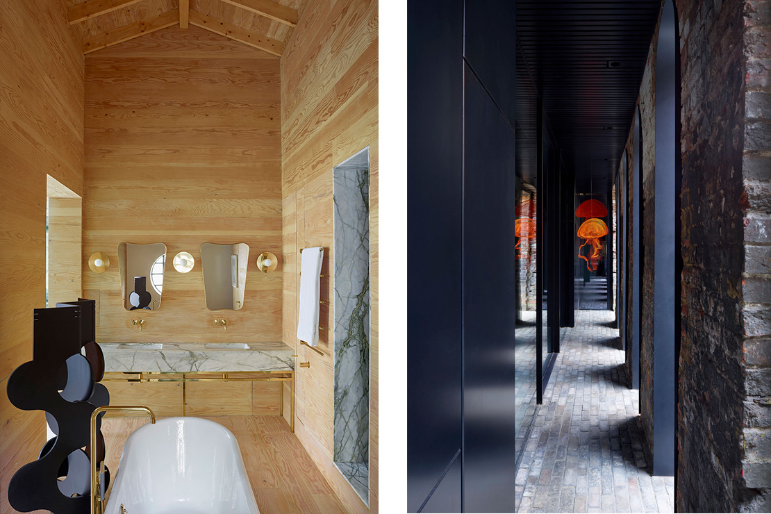 Left: Master bathroom with the Albemarle folding screen designed by Studio Mackereth. Right: An arcade has been formed with new black steel lined arches set into the old Victorian brickwork. Jellyfish by contemporary sculptor Mori Ubaldini twirl in the breeze.