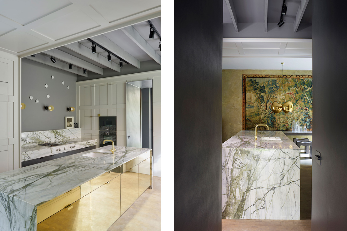 Left: Brass cabinets with marble work surfaces combine with appliances and secret doors concealed in painted panelling in the kitchen. Right: Blackened steel lines an aperture to form an entrance to the kitchen.