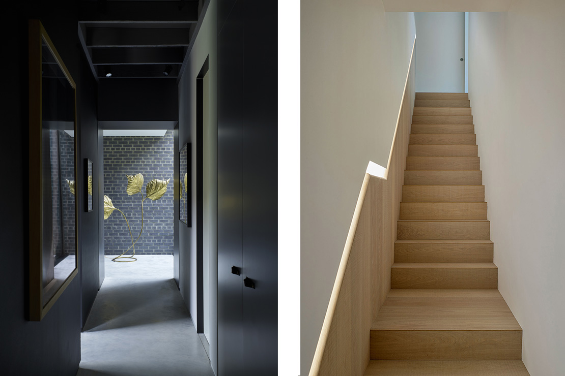 Left: Sombre light from an adjacent brick arcade bathes the polished concrete floors and matt black walls of the 20 metre vista. Right: The main staircase formed in rough sawn oak is softly lit by the glow from a recessed oak handrail.