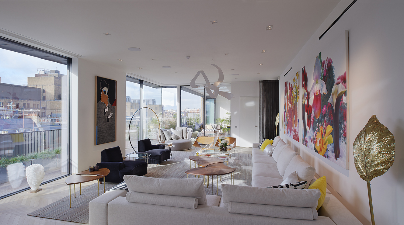 Penthouse living room with winter garden and roof terrace.