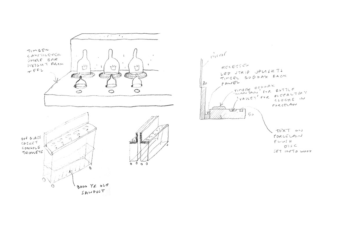 Working sketch diagrams for display elements.