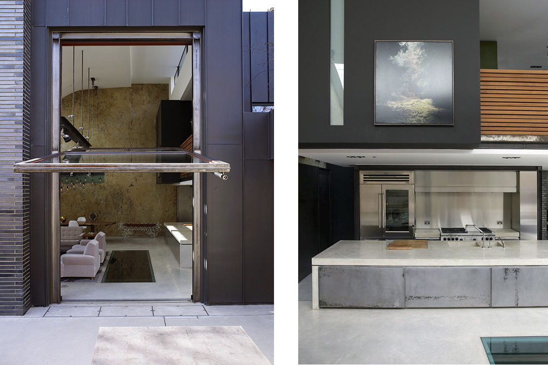 Left: A huge hydraulically-operated door pivots open from the living room into the garden primarily to provide a canopy to enable smokers to enjoy the garden in the rain. Right: The sunken kitchen was inspired by Frank Sinatra's in Palm Springs.